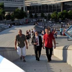 Les 3 boss montent les marches de Bercy